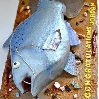 King Salmon Graduation Cake