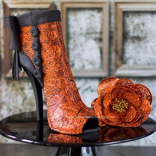 Copper lace boots