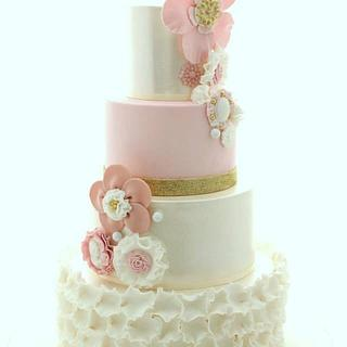 Blush and gold Wedding cake