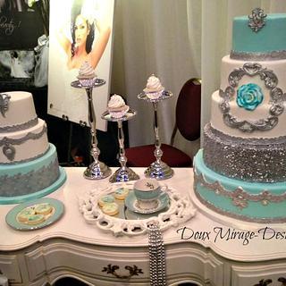 White silver wedding cake