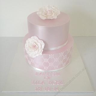 Lustre christening cake