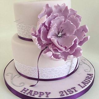Purple fantasy flower 2 tier cake