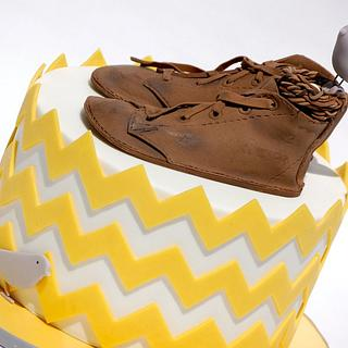 Chevron Baby Shower - Cake by Lesley Wright