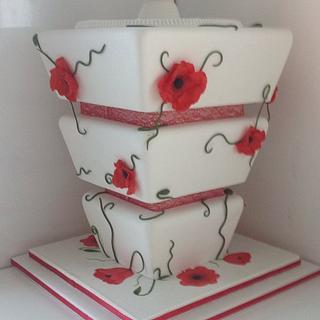 Upside Down Poppy Wedding Cake