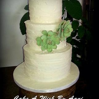 Succulent flower Wedding cake