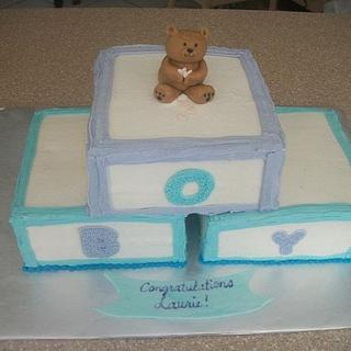 Baby  Blocks Baby Shower - Cake by caymancake