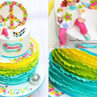 Love Peace 70's themed Cake