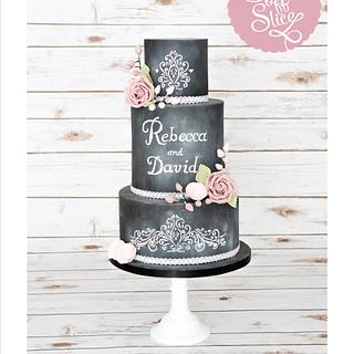 Pretty Chalkboard Wedding Cake with Pink Roses