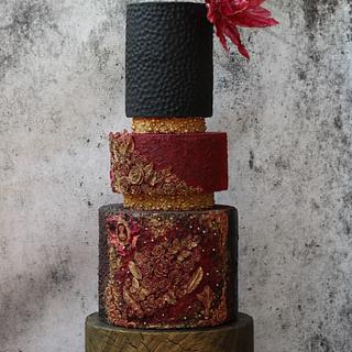 Marsala and black wedding cake - Cake by TheSugarCanvas