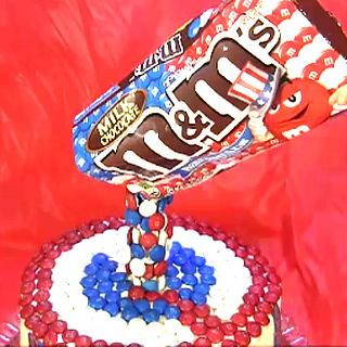 Red White and Blue M&Ms  Anti Gravity Cake