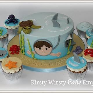 Underwater birthday cake