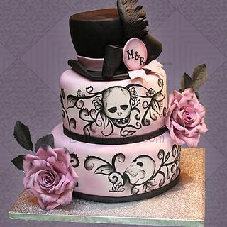 Wedding gothic skull painted cake