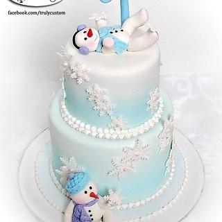 Snowbabies first birthday cake