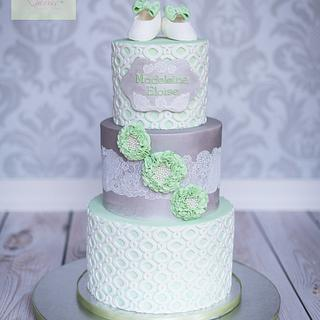 Christening cake silver and green