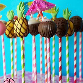 Hawaiian theme cake pops