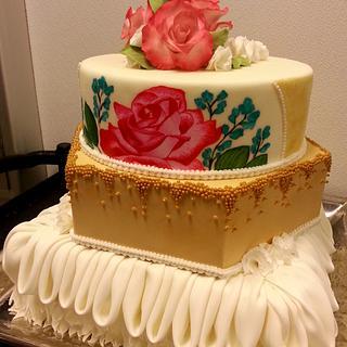 Wedding cake - hand painted roses