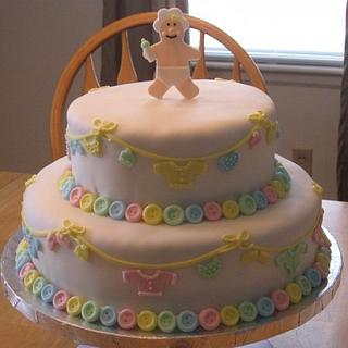 Cute as a Button Baby Shower Cake - Cake by Becky Pendergraft