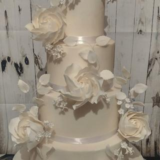 Classic whimsical wedding cake