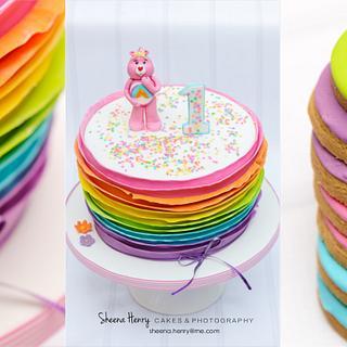 Rainbow ruffled care bear cake  - Cake by Sheena Henry
