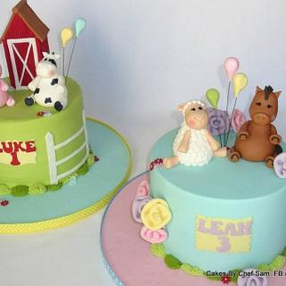 Pastel farm cakes for brother and sister
