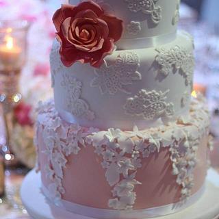 Lace and rose wedding cake