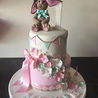 Cute rabbit 1stbirthday cake
