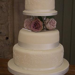 Brush Embroidered Lace Wedding Cake
