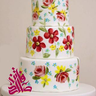 Free-hand painted flowers wedding cake