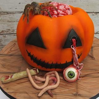 Gory Halloween pumpkin - Cake by Kate's Bespoke Cakes