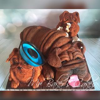 Naughty Pups & Grumpy Granddad - Cake by Mr Baker's Cakes