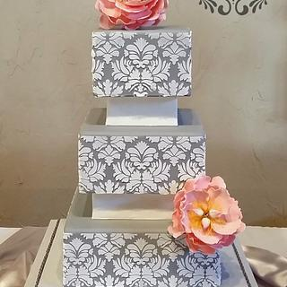 Gray Damask Wedding Cake