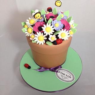 Flower Pot Cake - Cake by Olivia's Kitchen