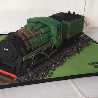 All aboard - vintage steam train cake