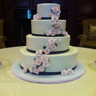 Tiered Wedding Cake with Pink Gum Paste Roses