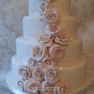 Four Tier Dusky Pink Roses Wedding Cake