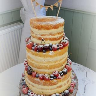 Naked Wedding Cake with Bunting