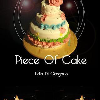 Cake with flowers and diamonds, sugar paste