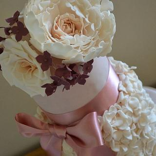 Pink and cream wedding cakes - Cake by DottyRose