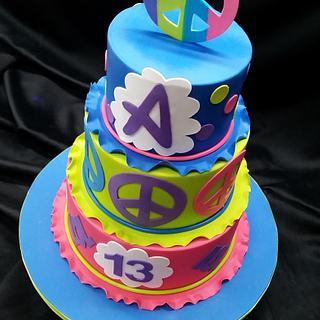 Neon doodle - Cake by Danielle George-John