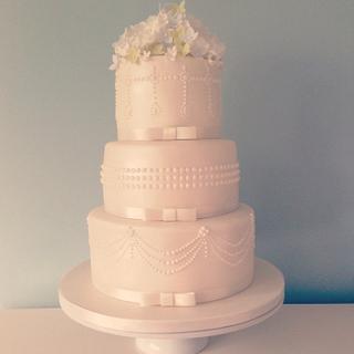Elegant pearls and peonies wedding cake - Cake by Samantha Tempest