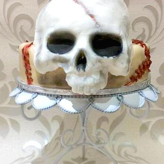 Horrific Brain & Skull Cake - Happy Halloween