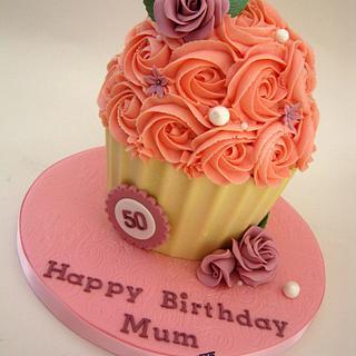 Pink 50th Birthday Giant Cupcake