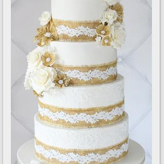 Burlap and Lace wedding cake - Cake by Berber's Cakes & Moulds