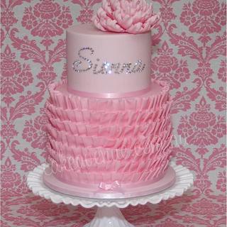 Ruffled Bling Birthday Cake
