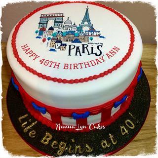 Paris inspired 40th birthday cake