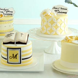 Yellow and Silver Celebration Cakes - Cake by Make Fabulous Cakes