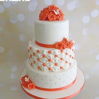 Billowing Pillows Coral Wedding Cake