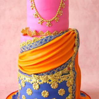 Half Saree Ceremony Cake - Cake by SprinkleSpark
