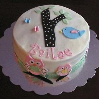 Woodland Owl Baby Shower Cake