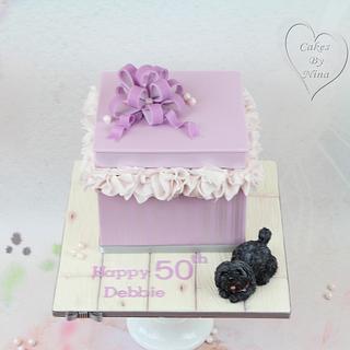 Pretty present box cake